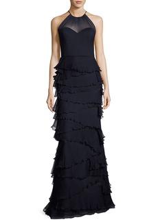 Badgley Mischka Collection Sleeveless Silk Tiered Ruffle Gown