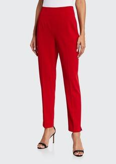 Badgley Mischka Collection Slim Back-Zip Crepe Ankle Pants