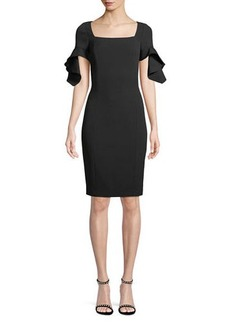 Badgley Mischka Square-Neck Trumpet-Sleeve Sheath Dress