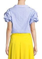 Badgley Mischka Star Embroidered Pinstripe Puff-Sleeve Top