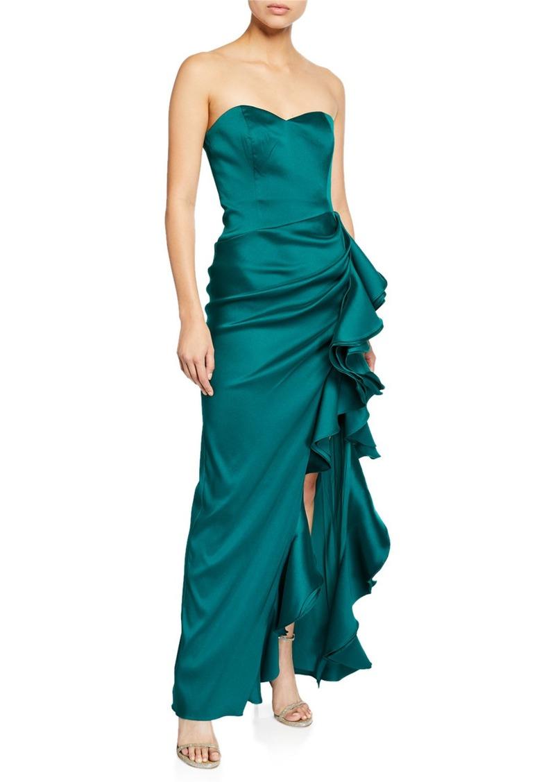 Badgley Mischka Collection Strapless Column Gown w/ Bustier Bodice & Side Ruffle