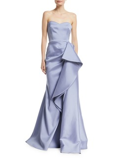 Badgley Mischka Collection Strapless Mikado Bustier Gown w/ Asymmetric Ruffle
