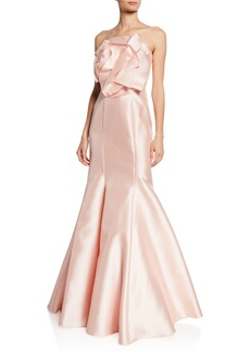Badgley Mischka Collection Strapless Mikado Mermaid Gown w/ Origami Flower Detail