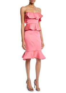 Badgley Mischka Strapless Peplum Cocktail Dress