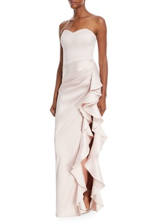 Badgley Mischka Collection Strapless Sweetheart Asymmetric Ruffle Gown