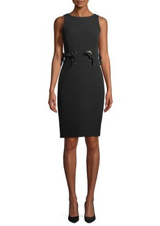 Badgley Mischka Collection Tie Grommet Sleeveless Sheath Dress