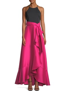 Badgley Mischka Two-Tone Halter-Neck Ruffle Gown
