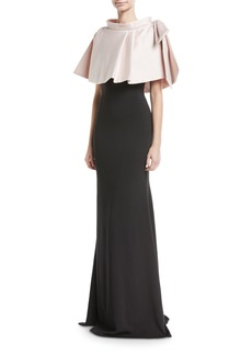 Badgley Mischka Two-Tone Popover Evening Gown