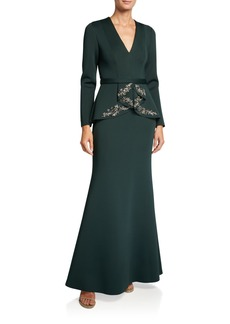 Badgley Mischka Collection V-Neck Long-Sleeve Beaded Peplum Scuba Gown