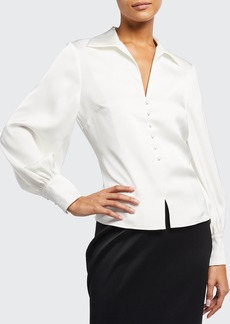 Badgley Mischka Collection V-Neck Long-Sleeve Collared Satin Blouse