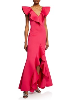 Badgley Mischka Collection V-Neck Scuba High-Low Ruffle Gown