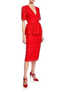 Badgley Mischka Collection V-Neck Short-Sleeve Scallop Lace Peplum Dress