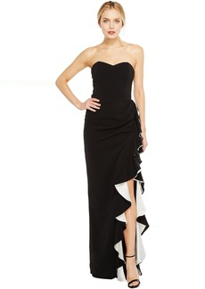 Badgley Mischka Color Block Ruffle Gown