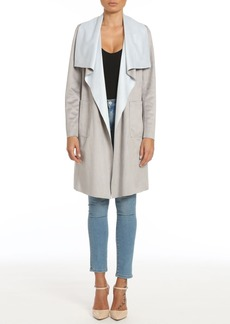 Badgley Mischka Colorblock Faux Suede Draped Coat