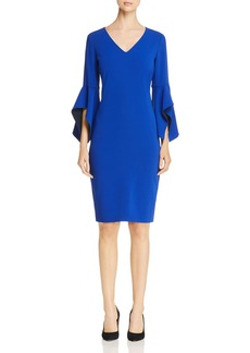 Badgley Mischka Contrast Bell Sleeve Dress