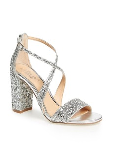Badgley Mischka Cook Block Heel Glitter Sandal (Women)