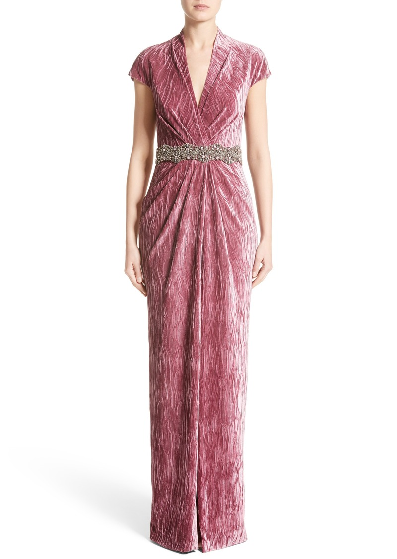 6811f173973 Badgley Mischka Couture Beaded Belt Faux Wrap Gown (Nordstrom Exclusive)