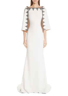 Badgley Mischka Couture Beaded Cape Gown