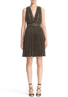 Badgley Mischka Couture Beaded Sleeveless Crochet Lace Dress