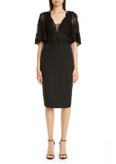 Badgley Mischka Couture Embellished Lace Bodice Cocktail Dress