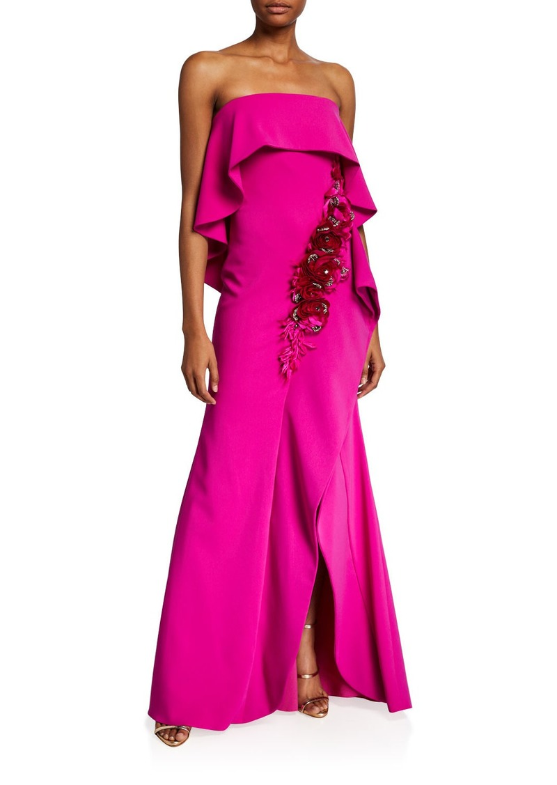 Badgley Mischka Couture Embroidered Rosette Strapless Popover Gown
