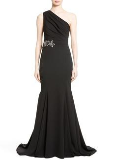 Badgley Mischka Couture Odessa Embellished One-Shoulder Gown