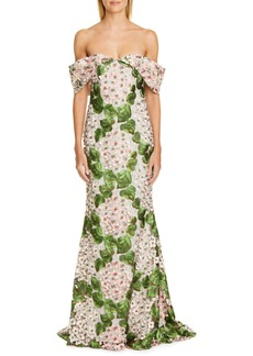 Badgley Mischka Couture Off the Shoulder Floral Embellished Gown