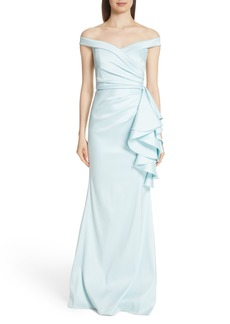 Badgley Mischka Platinum Off the Shoulder Ruffle Detail Gown