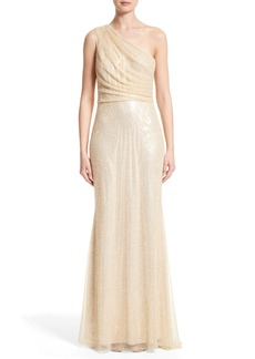 Badgley Mischka Couture One Shoulder Beaded Mesh Gown