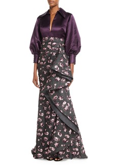 Badgley Mischka Couture Split-Neck Long-Sleeve Satin-Top Cascade Floral-Embroidered Evening Gown