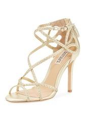 Badgley Mischka Crystal Braided Strappy Sandal