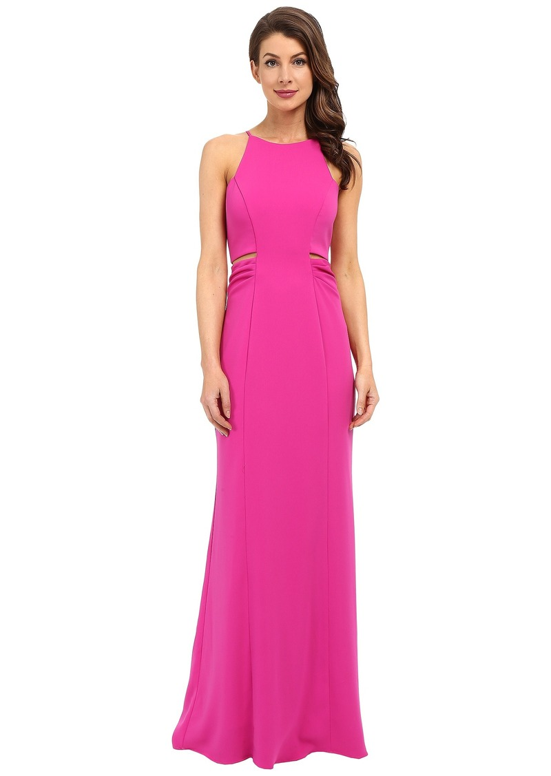Badgley Mischka Cut Out Stretch Crepe Gown