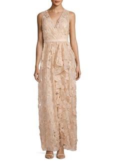 Badgley Mischka Cutout Floral Dress