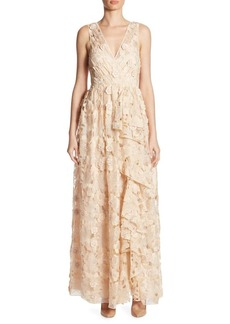 Badgley Mischka Cutout Floral Dress