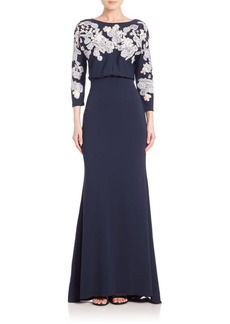 Badgley Mischka Cutout-Lace Blouson Gown