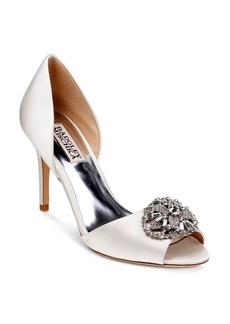 Badgley Mischka Dana Embellished Satin d'Orsay High Heel Pumps