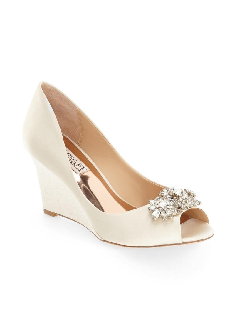 Badgley Mischka 'Dara' Crystal-Encrusted Peep-Toe Wedge (Women)