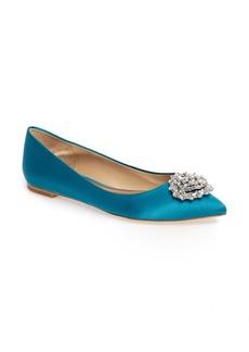 Badgley Mischka 'Davis' Crystal Embellished Pointy Toe Flat (Women)