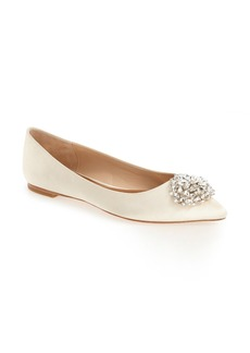 Badgley Mischka 'Davis' Crystal Embellished Pointy Toe Flat (Women)