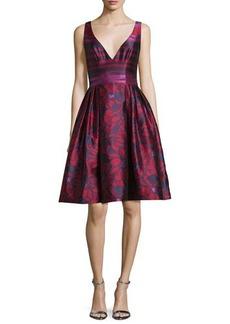 Badgley Mischka Deep V-Neck Fit-and-Flare Striped Dress
