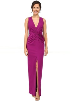 Badgley Mischka Deep V Twist Front Gown