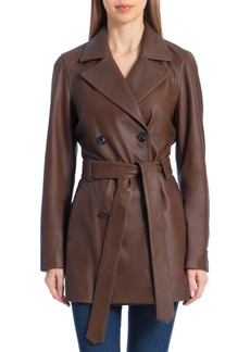 Badgley Mischka Double-Breasted Leather Trench Coat