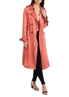 Badgley Mischka Double Breasted Satin Trench Coat