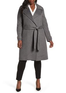 Badgley Mischka Double Face Wool Blend Wrap Front Coat (Regular & Petite)