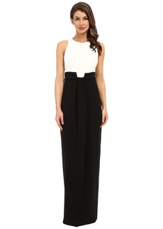 Badgley Mischka Drape Front Black White Gown