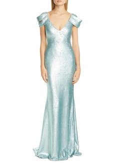 Badgley Mischka Drape Sleeve Sequin Trumpet Gown