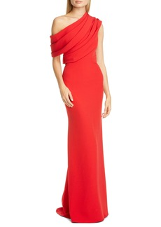 Badgley Mischka Draped One-Shoulder Gown