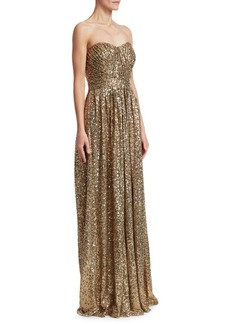 Draped Sequin Gown