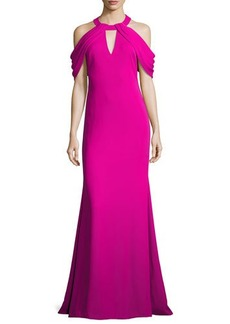 Badgley Mischka Draped-Shoulder Stretch Crepe Gown