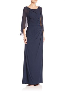 Badgley Mischka Draped Silk Gown